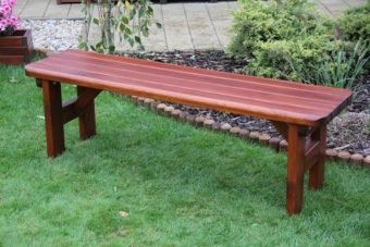 Záhradná borovicová lavička Rovná bez operadla