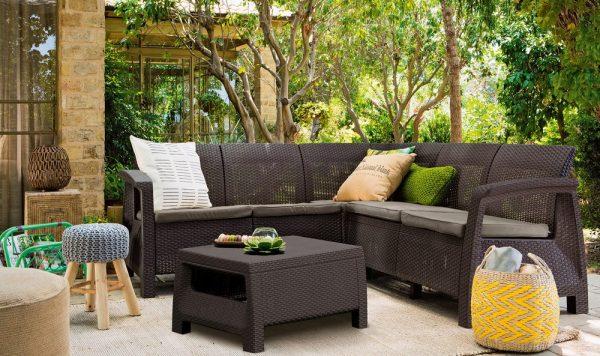 Záhrasné sedenie Corfu Relax hnedá farba umelý ratan