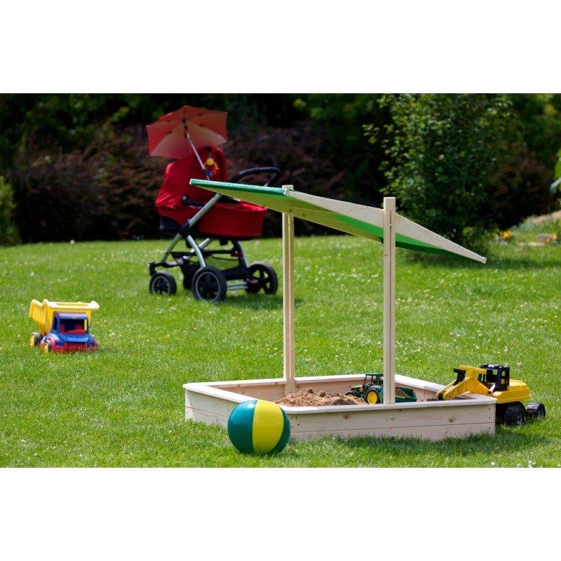 Záhradné pieskovisko 120x120cm - so strieškou