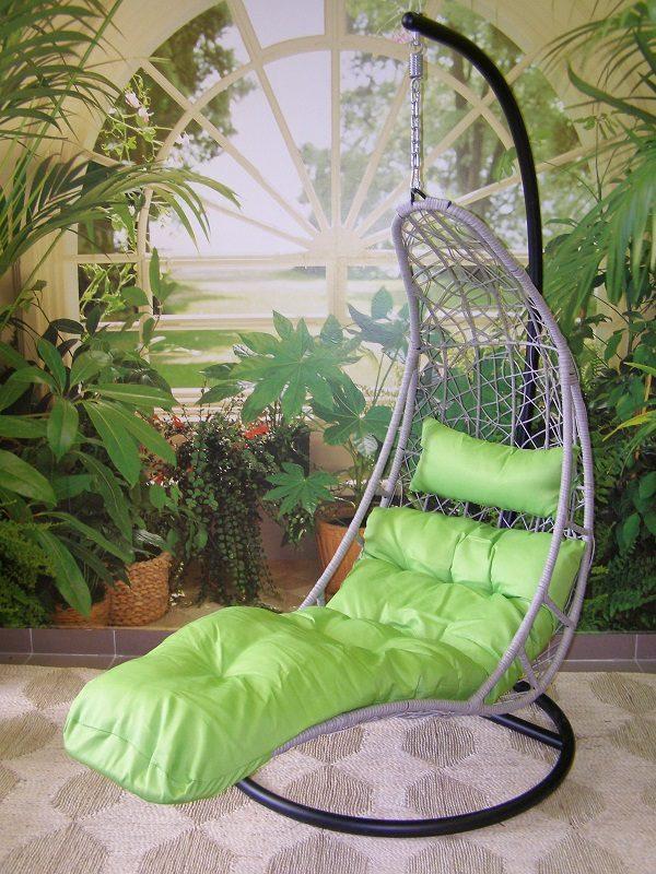 e105366e702a Záhradné závesné relaxačné kreslo NORA - zelený sedák