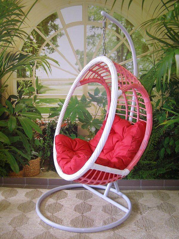 c8500a06e9a7 Záhradné závesné relaxačné kreslo PINK - červený sedák