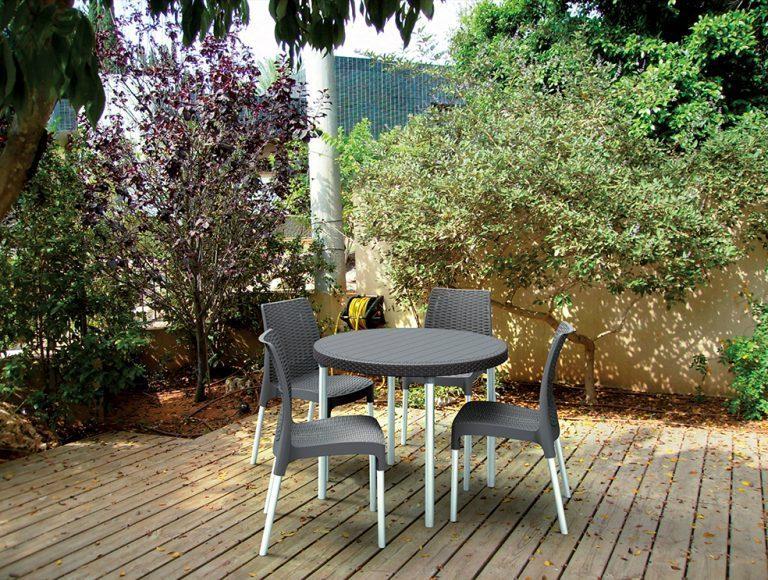 zahradne jedalenske sedenie z umeleho ratanu