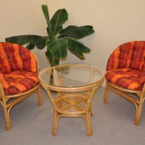 Ratanová sedacia súprava Bahama malá - medová - MAXI oranžová kocka podušky