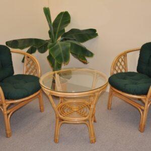 Ratanová sedacia súprava Bahama malá - medová - zelený dralon podušky