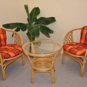 Ratanová sedacia súprava Bahama malá - medová - oranžová kocka podušky