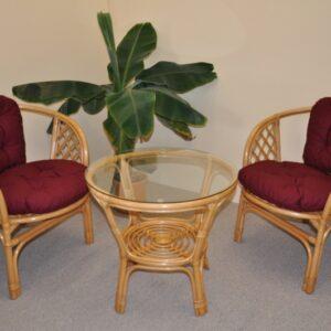 Ratanová sedacia súprava Bahama malá - medová - vínové podušky