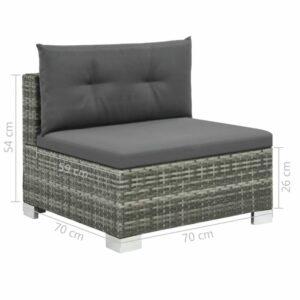 10-dielna modulová sedacia súprava sivá - 44426