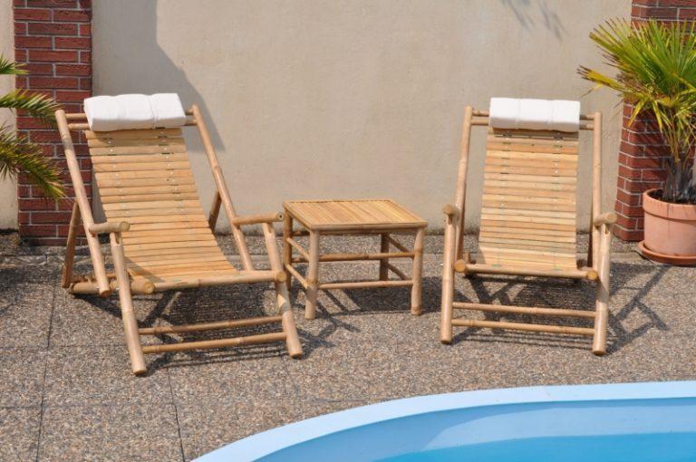 bambusový záhradný nábytok