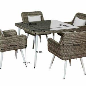 Elegantná záhradná sada 4 stoličky BASSO technorattan